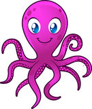 Smiling Blue eyes Octopus. Moving its eight tentacles  illustration Royalty Free Stock Photos