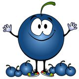 Smiling Blueberry Cartoon Face Royalty Free Stock Photo