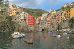 SMILING BOAT IN RIOMAGGIORE HARBOUR royalty free stock photo