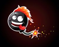 Smiling bomb. Crazy bomb character smiling happily Royalty Free Stock Images