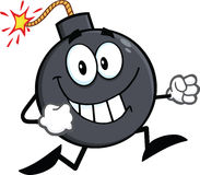 Smiling Bomb Cartoon Character Running Stock Photography