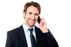 Smiling boss communicating with client Stock Photos