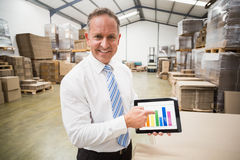 Smiling boss showing column graphic on the tablet. In a large warehouse Royalty Free Stock Photo