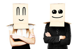 Smiling box on head Stock Photo