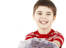 Smiling boy. Smiley boy with the money on a white Royalty Free Stock Image