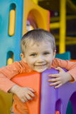 Smiling boy. Boy on a playground royalty free stock photo