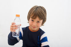 Smiling boy. With a bottle of water Stock Photography