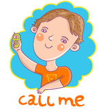Smiling boy. With a mobile phone - cartoon illustration Royalty Free Stock Photography