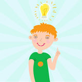 Smiling boy. Have an idea - funny cartoon illustration Royalty Free Stock Images