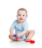 Smiling boy baby playing Royalty Free Stock Photography
