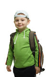 Smiling boy with backpack. Boy in green with backpack isolated Royalty Free Stock Photo