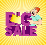 Smiling boy and big sale text Stock Photo