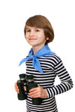 A smiling boy with binocular in striped vest Royalty Free Stock Photo