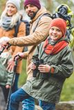 Smiling boy with binoculars Royalty Free Stock Photography