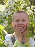 Smiling boy in blooming garden Royalty Free Stock Image