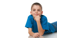 Smiling boy in blue shirt Stock Photography