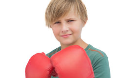 Smiling boy with boxing gloves Stock Photos