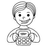 Smiling Boy With Calculator Stock Photo