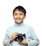 Smiling boy with camera stock image