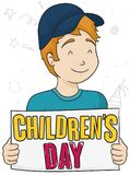 Smiling Boy with Cap Celebrating Children`s Day with Sign, Vector Illustration. Smiling blonde boy with cap holding a greeting sign for Children`s Day Royalty Free Stock Photos