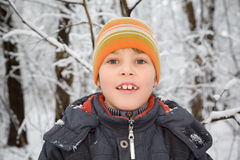 Smiling boy in cap in wood in winter Stock Image