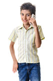 Smiling boy with cell phone Stock Photo