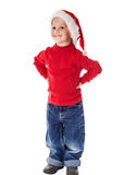 Smiling boy in Christmas hat Stock Photos