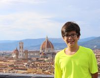 Smiling boy in the city of FLORENCE in Italy Stock Image