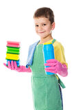 Smiling boy with colorful sponges Stock Image