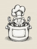 Smiling boy cooking in the kitchen. Sitting in the pot with two big spoons in his hands - EPS10 vector illustration Royalty Free Stock Images