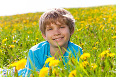 Smiling boy in dandelions portrait Royalty Free Stock Photos