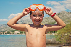 Smiling boy with diving mask Stock Photos