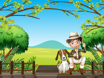 A smiling boy and a dog. Illustration of a smiling boy and a dog sitting on a wooden platform Royalty Free Stock Photo