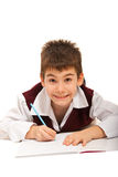Smiling boy doing homework Royalty Free Stock Image
