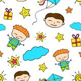 Smiling boy doodle seamless pattern. Boy birthday. Smiling boy doodle characters seamless pattern. Boy birthday wrapping paper. Joyful boys, clouds and stars on Royalty Free Stock Photo