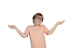 Smiling boy with a doubtful expression Stock Photography