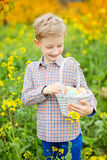 Smiling boy with easter eggs Royalty Free Stock Photos