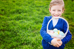 Smiling boy with easter eggs Royalty Free Stock Images