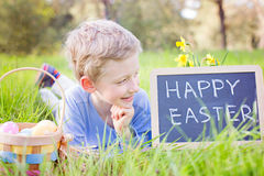 Smiling boy with easter eggs Royalty Free Stock Photography