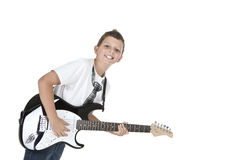 Smiling Boy with Electrical Guitar Royalty Free Stock Photos
