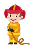 Smiling boy in fireman uniform with hose. Professional occupation concept, happy childhood, emotion kid cartoon character isolated on white background vector Royalty Free Stock Photo