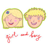 Smiling boy and girl. Cute cartoon smiling boy and girl Stock Photography