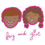 Smiling boy and girl. Cute cartoon smiling boy and girl Stock Images
