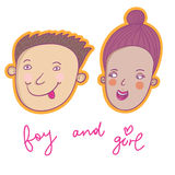 Smiling boy and girl. Cute cartoon smiling boy and girl Royalty Free Stock Photo
