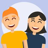 Smiling boy and girl concept background, cartoon style vector illustration