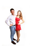 Smiling boy and girl hugging isolated on white background Royalty Free Stock Photos