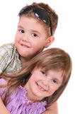Smiling boy and girl on a white background Royalty Free Stock Photography