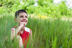 Smiling boy in the green grass Stock Photo