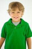 Smiling Boy in Green Shirt Stock Photo
