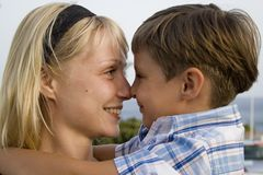 Smiling Boy and  happy mom. In the summer holiday Stock Image